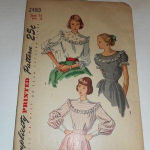 Vintage 1940s 50s Simplicity Size 14 2483 blouse
